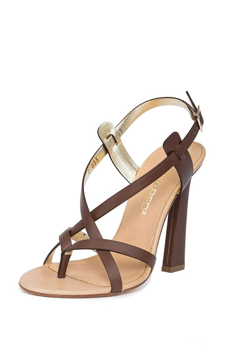 Dsquared2 Women Slingback Strappy Sandals Leather High Block Heels Designer  Shoes *** For more