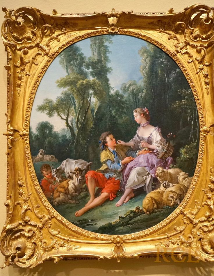 "François Boucher (29 September 1703 – 30 May 1770), French. ""Are They Thinking About the Grape?"" 1747.  Oil on canvas.  @ Art Institute, Chicago."