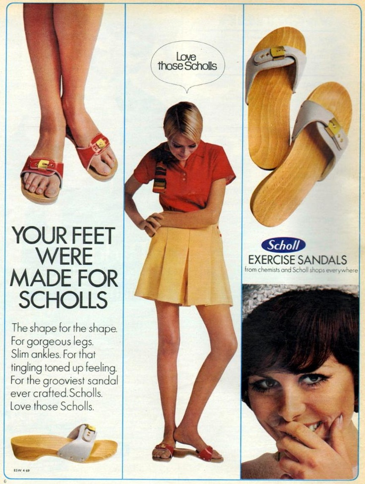 Scholls - exercise sandals 1969     I still have 2 pairs. Back then they were $ 12.99, just saw some the other day for $60!!