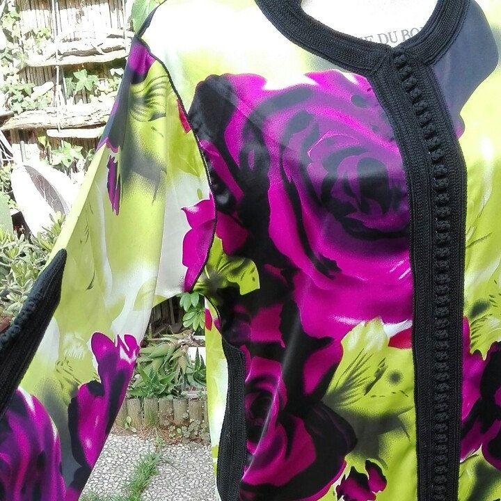 Kaftano raso viola verde fucsia woman kaftan
