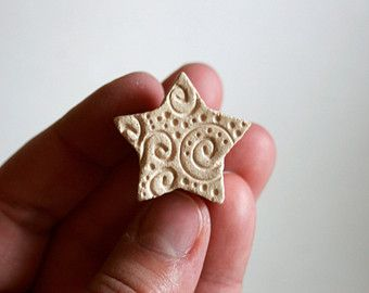 Small Star with Spirals and Dots -- Clay Stamp -- Tool for Pottery Ceramics Polymer Clay
