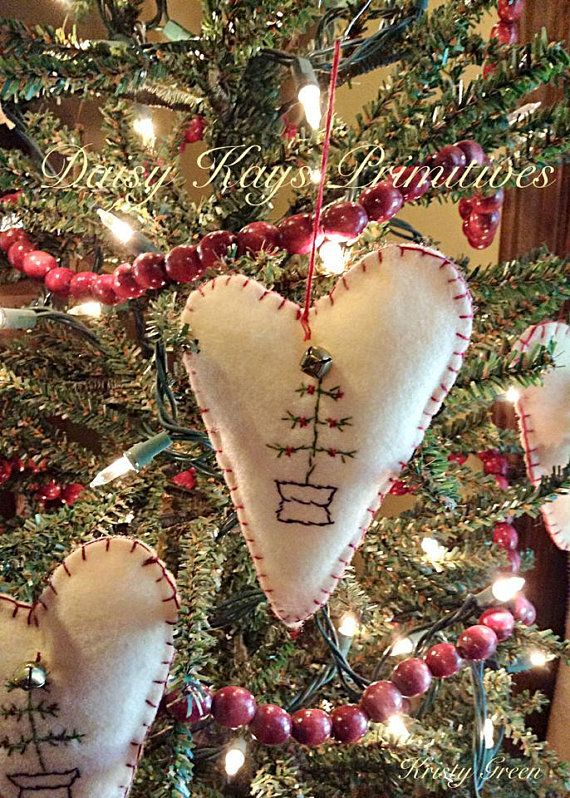 Christmas Tree Ornament | Primitive Vintage Colonial | Ornie Bowl Filler |  Heart Bell | - Christmas Tree Ornament Primitive Vintage Colonial Ornie Bowl