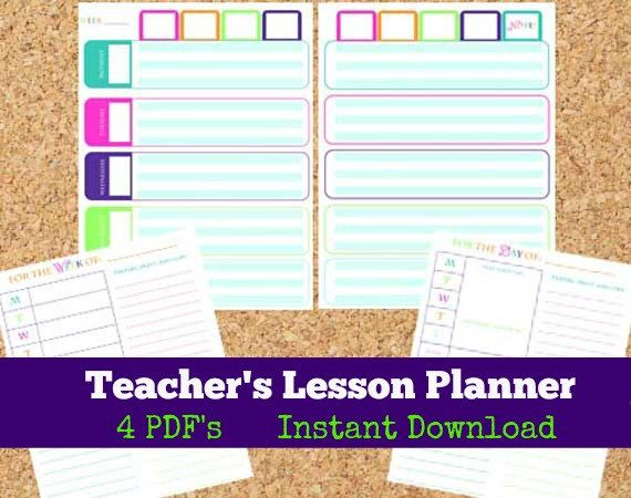 INSTANT DOWNLOAD Teacher's Lesson Planner by OrganizedWhimsy, $5.00