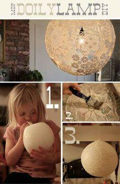 balloon, lace glue | balloon w/ lace table cloth (flea market?) soaked in wallpaper glue ...