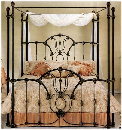 Elliott's Designs Tiffany 403 Wrap Canopy Bed wrought rod iron beds antique bed reproductions, camas de hierro forjado