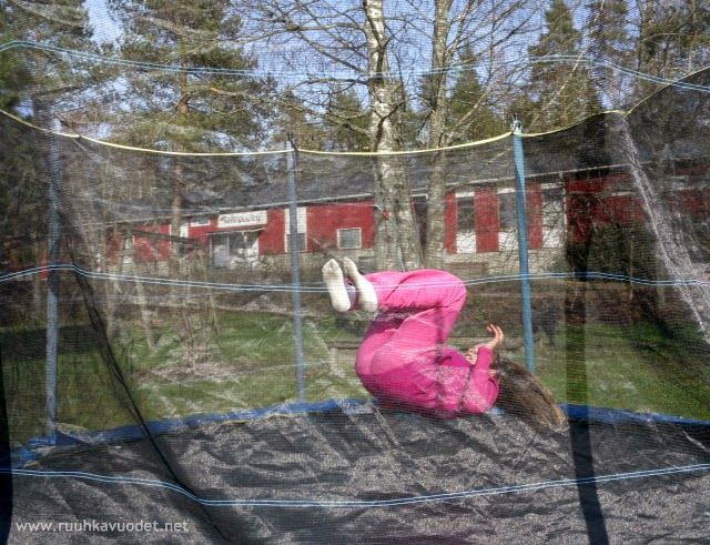 My daughter on our #trampoline. Hyppely #trampoliini'lla on hyvää liikuntaa!