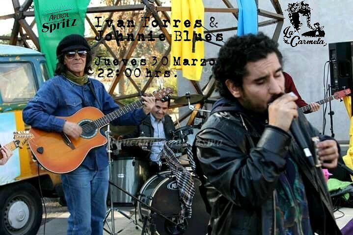 Luego de un gran triunfo de #Chile vivido en #LaCarmela a casa llena este jueves 30 de Marzo seguimos celebrando y tenemos el honor de hacerlo con lo mejor del #Blues nacional junto al gran leyenda y pionero en estas lides #IvanTorres en una performance única con el otra leyenda como lo es #JohnnieBlues . Junto a sus  guitarras y armónica recorrerán la carrera de más de 35 años de Iván quien nos visita en su primera gira en el #sur de #Chile . El creador de la banda #ZapatillasSocialBlues…