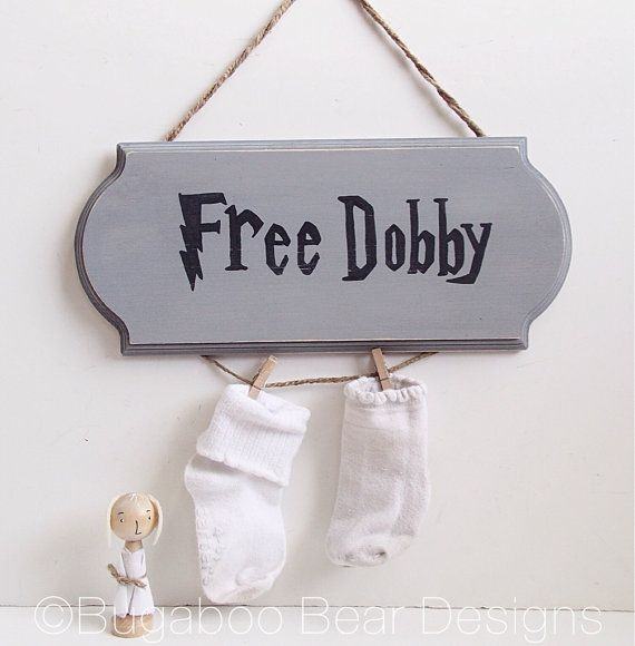 Free Dobby Sign Harry Potter Wood Sign by BugabooBearDesigns