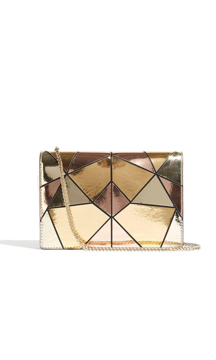 Karen Millen Metallic Patchwork Chain Bag