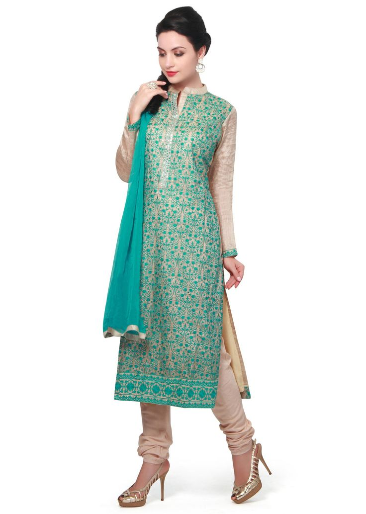 Beige and teal straight suit adorn in resham embroidery only on Kalki