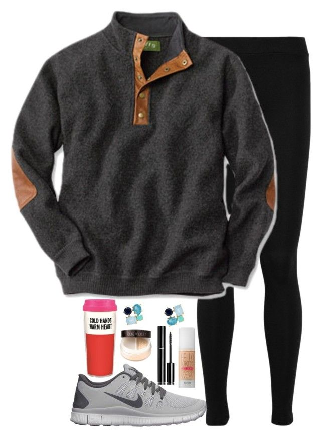 """Lazy Preppy School Girl"" by elizabethjamesw ❤ liked on Polyvore featuring Kate Spade, Benefit, Chanel, Vince, NIKE and Laura Mercier"