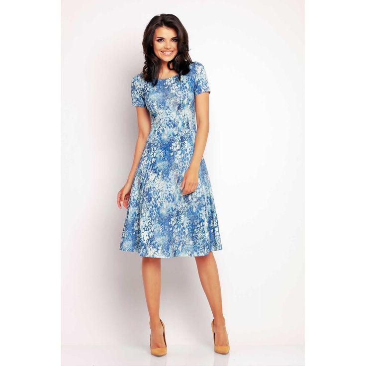 Rochie casual blue lungime medie,print floral si maneci scurte