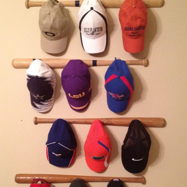 ideas for hanging baseball caps bat cap rack