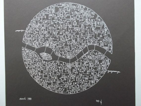 Seoul olympic city abstract map drawing by AbstractCartography, $120.00