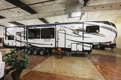 New 2014 380AMP 3 Slide Luxury 5th Fifth Wheel Toy Hauler Slide Out 12 ft Garage Cold Weather, Auto Level, Fuel Station, W/D Prep, Deck