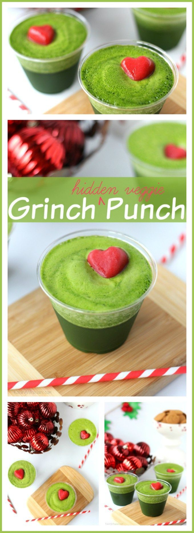 Kid-Approved Christmas Grinch Punch | 3-ingredient easy Christmas punch, made with hidden veggies! Inspired by The Grinch - Raising Whasians