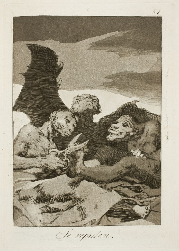 "Francisco de Goya: ""Se repulen"". Serie ""Los caprichos"" [51]. Etching, aquatint and burin on paper, 210 x 148 mm, 1797-99. Museo Nacional del Prado, Madrid, Spain"