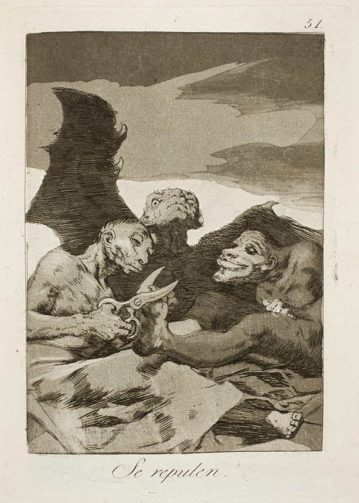 "Francisco de Goya: ""Se repulen"". Serie ""Los caprichos"" [51]. Etching, aquatint and burin on paper, 210 x 148 mm, 1797-99. Museo Nacional del Prado, Madrid, Spain"