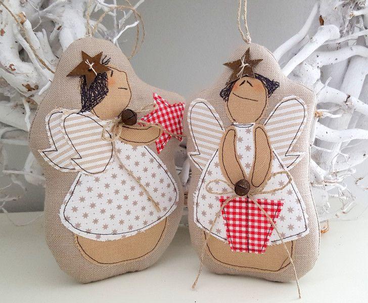 Engel+zwei+Stück+Landhaus+Weihnachten++von+Feinerlei+auf+DaWanda.com