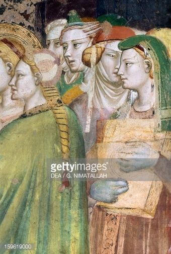Fine art : Figures of women, detail from Marriage of Virgin, fresco by Giovanni da Milano (active from 1346 to 1369), Rinuccini Chapel, Santa Croce, Florence, Italy, 14th century