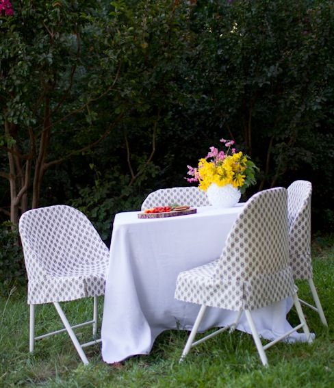 DIY folding chair slipcover tutorial make love your home Pinterest