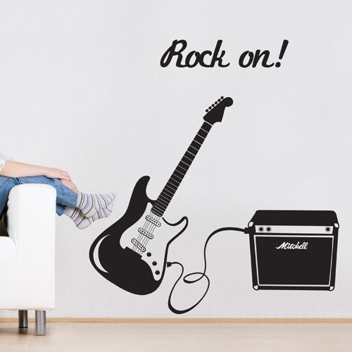 For musical Rock n' Roll theme decoration, use this guitar sticker, and create a stylish look for your interior space. Is your child or teenager a rock-star wanna-be? Does your kids love playing the guitar? This guitar vinyl wall sticker is the perfect wall decor to create musical scene in your kids rooms and play rooms.$59.95