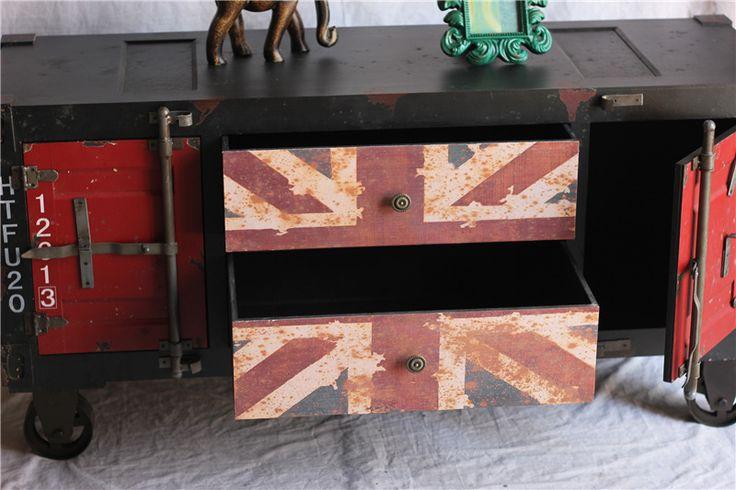 Проблемных классический американский стиль антикварная мебель лофт добыча британский флаг имитация утюг кабинета корпуса телевизора шкафыкупить в магазине ShenzhenCreative design Co.,LtdнаAliExpress