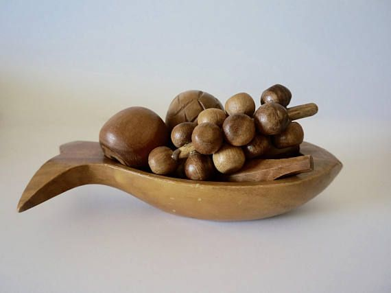 Wooden fruits and fish shaped bowl // Wooden bowl with fruits