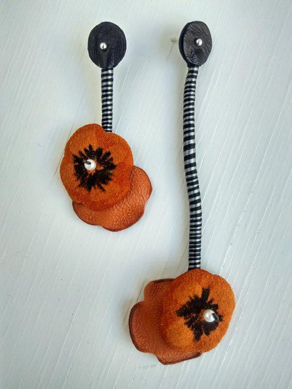 Jewelry earrings-leather jewelry-poppiesstatement