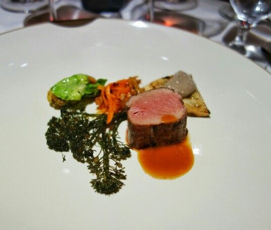 Wild boar fillet - brussels sprouts, cauliflower, liver pate on toast, and quince and apricot vinegar sauce.#Yaletown #Vancouver #ItalianFood #NewItalian #tastingmenu #finedining #wildboar  #FMFCioppinos