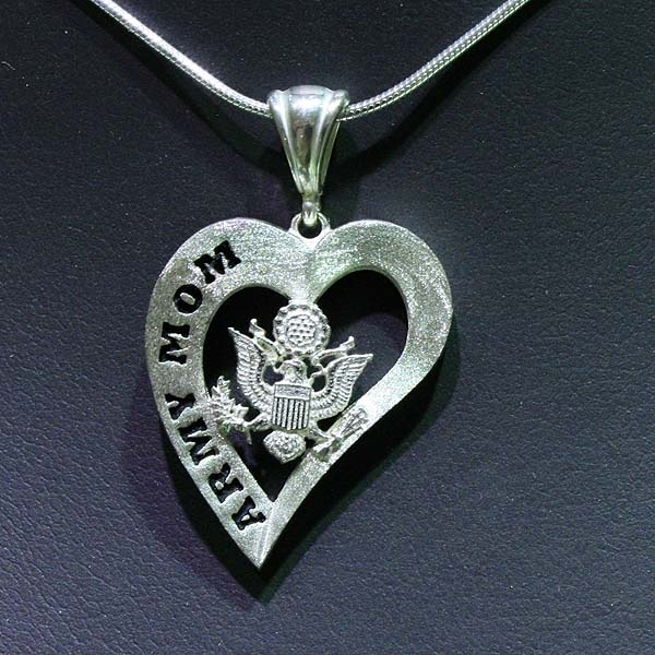 "Army Mom Solid Sterling Silver with 18"" Chain  www.UnitedCastingCompany.com"