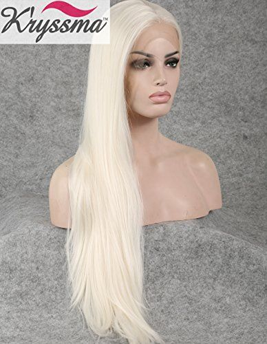 K'ryssma Natural Looking Straight Blonde Long Realistic Wigs for Women Synthetic Hair Best Lace Front Wig Half Hand Tied Heat Friendly 22 inches