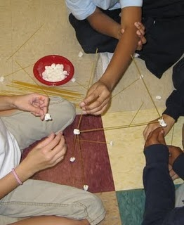 Cooperation Lesson: Spagetti and marshmallows. Group who builds highest tower gets small prize. Process experience of working with others.