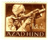 azad hind, postage stamp issued in germany. it features a sikh soldier from the FREIES INDIEN (azad hind) unit of the german army