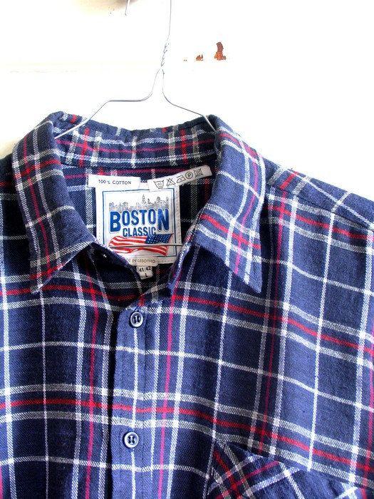 Boston Classic Shirt Retro Men Shirt 80s Flannel by artwardrobe, $22.00