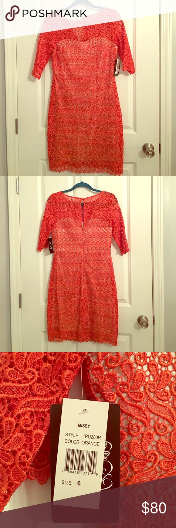 Beautiful, never worn, nwt,  lace dress New with tags. Never worn. Orange lace dress. Jax Dresses