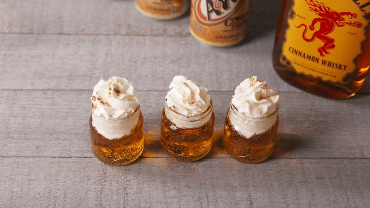 Fireball Cinnamon Roll Shots: 1 part Fireball, 3 parts cream soda. Top with whipped cream and sprinkle with cinnamon.