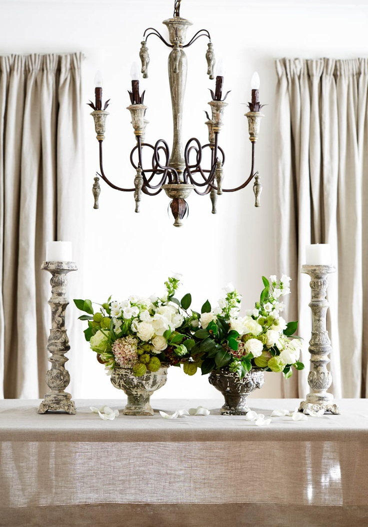 Beautiful Rustic Urns And French Style Candlesticks In Staging A House To Sell Just Use One Bouquet On The Table With Candelsticks