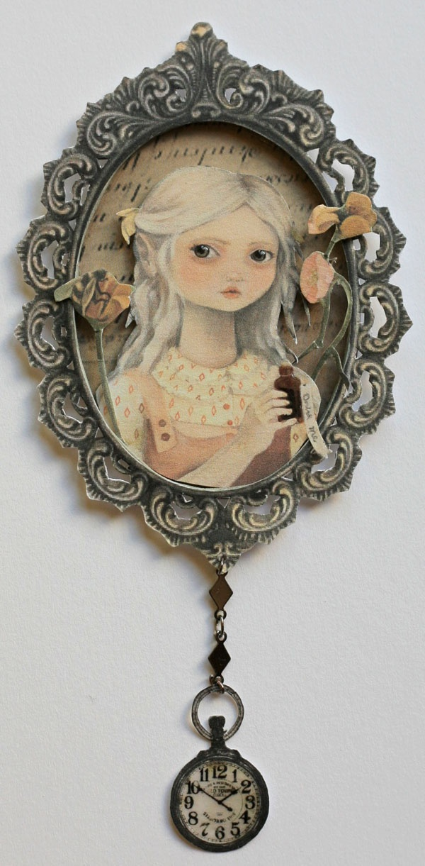 Alice in Wonderland in a frame - ATC size