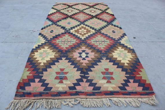 Turkse Vintage Kilim tapijt, handgemaakte Anatolische Multicolor gebied decoratieve Kilim tapijt, Decor van het huis wol geometrische Kilim tapijt,