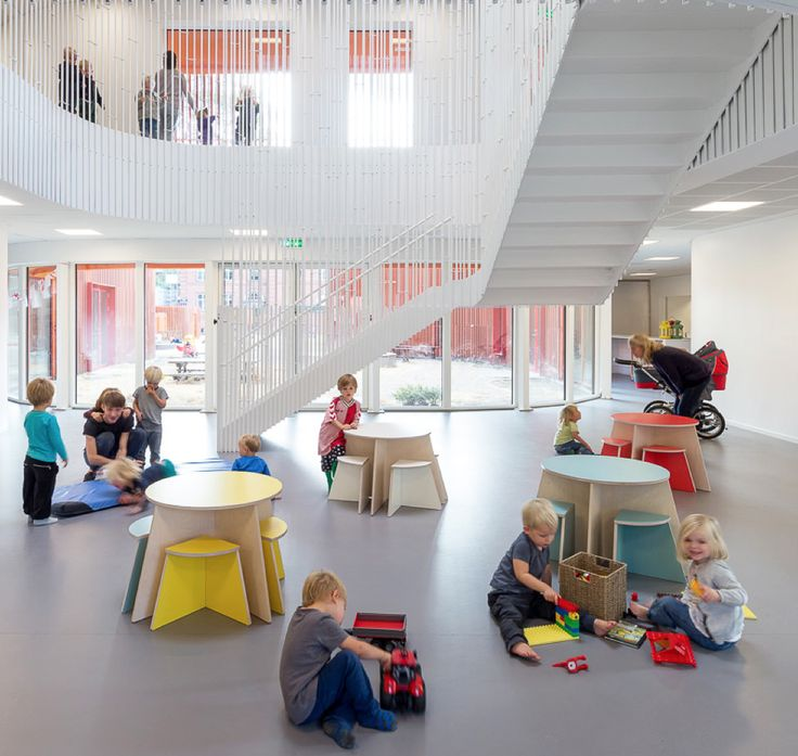 SMALL DESIGN; CIRCLE Table With Stools From Kindergarten In Copenhagen.  COBE Arcitects