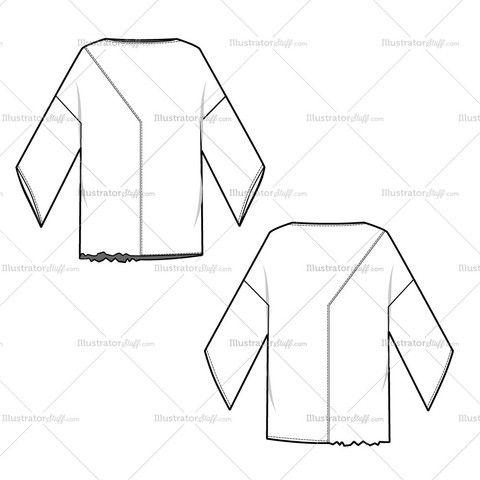 Women's Asymmetrical Dolman Style Blouse Fashion Flat Template