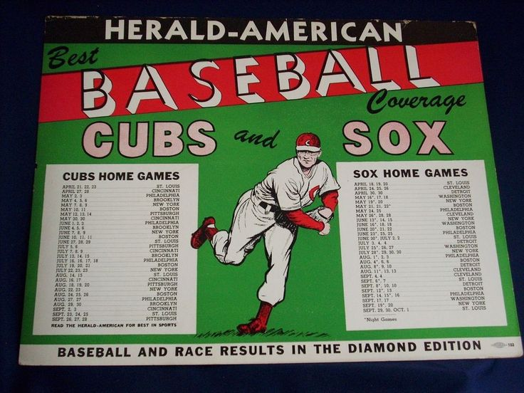 LARGE CHICAGO CUBS WHITE SOX VINTAGE 40/50'S SCHEDULE #Poster