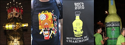 Aguila, t-shirt, and a strange big bottle of Chartreuse during Santa Tecla 2011.