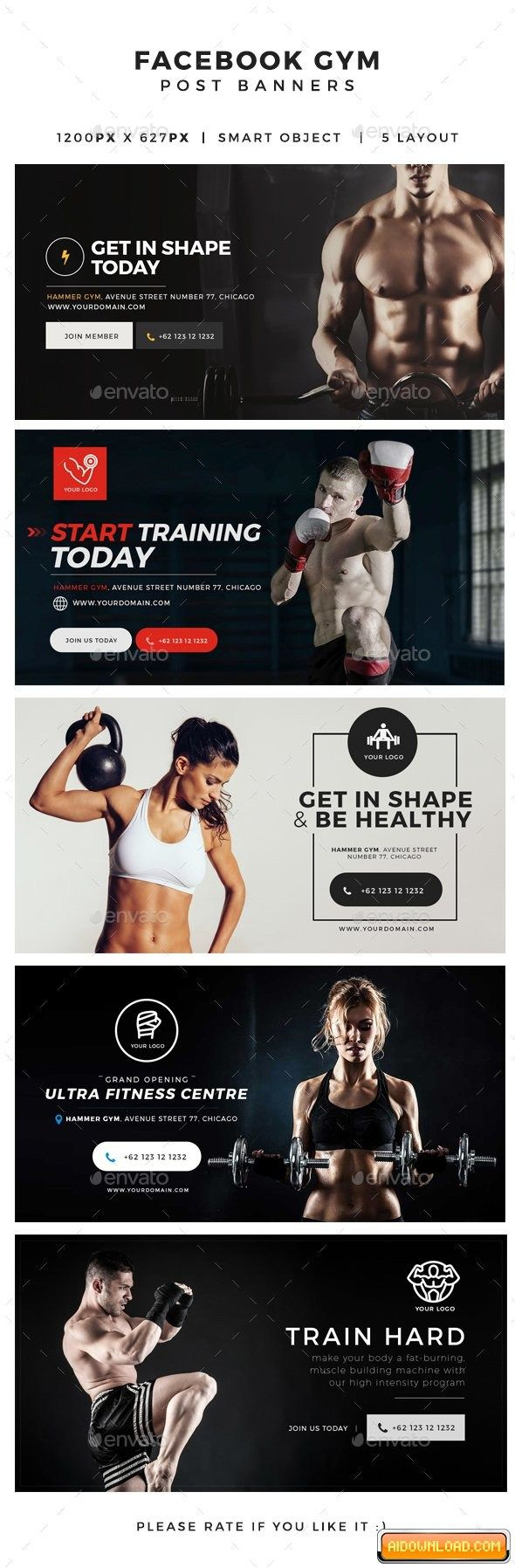 Gym & Fitness Facebook Post Banners Free Download | Free Graphic Templates, Fonts, Logos & Icons, PSD, AI