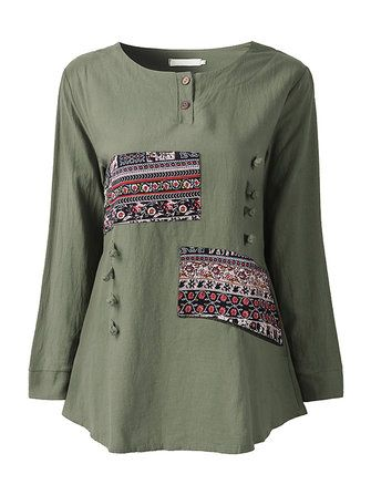 Casual Women Ethnic Style Printing Patchwork Long Sleeve T-shirt at Banggood
