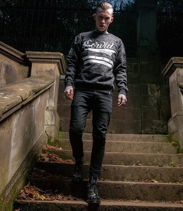 """""""Corvid Fam"""" Camo Bomber Sweater Available at www.crmc-clothing.co.uk 