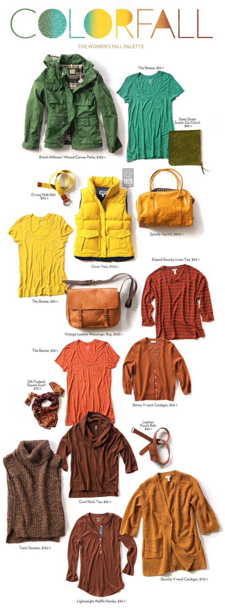 The Women's Fall Palette \\ love the brights mixed in for fall--right up my alley!!