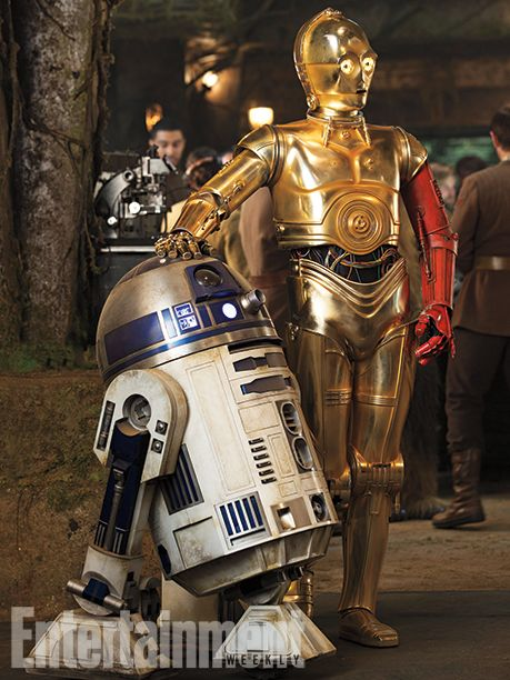 Old friends, but in a new time and place. R2-D2 seems to have hardly changed, but C-3PO (played by Anthony Daniels) now sports an unexplained red arm. #StarWars #TheForceAwakens