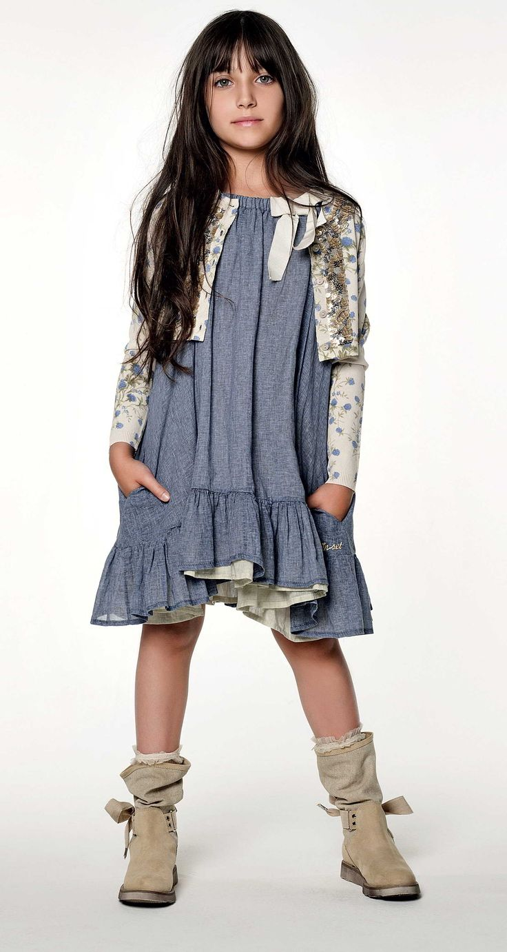 TWIN-SET Girl collection: Short cardigan with floral print, dress with flounce and boots with fabric leg